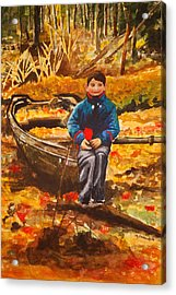 Boat In The Woods Acrylic Print by Joy Bradley