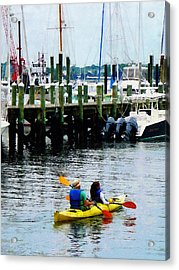 Boat - Kayaking In Newport Ri Acrylic Print by Susan Savad