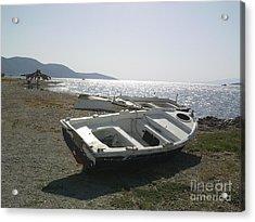 Boat On Alyki Beach Acrylic Print by Katerina Kostaki