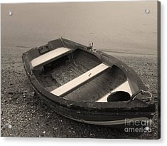Boat On Black Acrylic Print by Katerina Kostaki