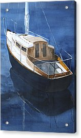 Acrylic Print featuring the painting Boat On Blue by Susan Crossman Buscho