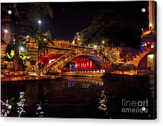 Acrylic Print featuring the photograph Boat On Canal Riverwalk San Antonio At Night by Dan Friend