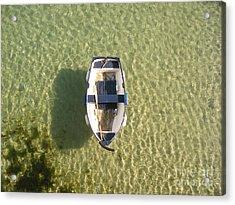 Boat On Ocean Acrylic Print by Pixel Chimp
