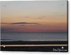 Acrylic Print featuring the photograph Boat On The Horizon At Sunrise by Robert Banach