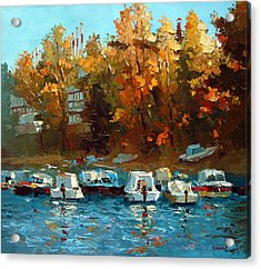 Acrylic Print featuring the painting Boat On The Waterfront by Dmitry Spiros