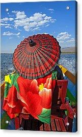 Boat Passanger With Pathein Umbrella Acrylic Print by Judith Barath