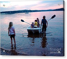 Boat Play Acrylic Print by Gretchen Allen