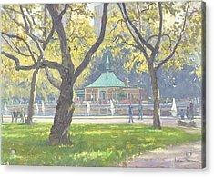 Boat Pond, Central Park Oil On Canvas Acrylic Print