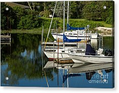 Boat Reflections In Cape Cod Hen Cove Acrylic Print by Eleanor Abramson