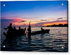 Boat Silhouettes Angkor Cambodia Acrylic Print by Fototrav Print