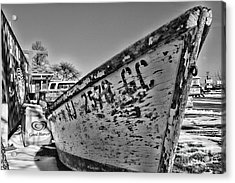 Boat - State Of Decay In Black And White Acrylic Print by Paul Ward