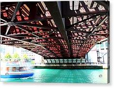 Boat Under Steel Bridge Acrylic Print