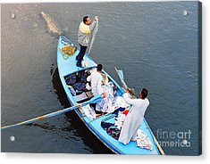 Acrylic Print featuring the photograph Boat Vendors by Cassandra Buckley