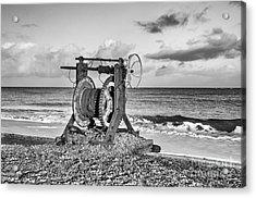 Boat Winch 1 - Mono Acrylic Print by Steev Stamford