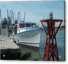 Boat With Light Buoy By Jan Marvin Acrylic Print