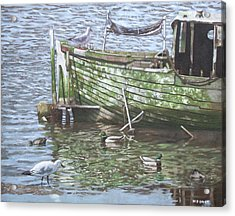 Boat Wreck With Sea Birds Acrylic Print by Martin Davey