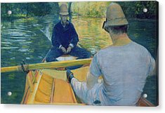 Boaters On The Yerres Acrylic Print by Gustave Caillebotte