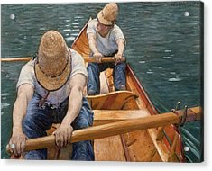 Boaters Rowing On The Yerres Acrylic Print