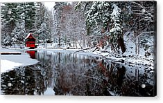 Boathouse In Winter On Beaver Brook Acrylic Print by David Patterson
