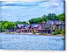 Boathouse Row Along The Schuylkill River Acrylic Print by Bill Cannon