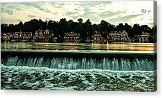 Boathouse Row And Fairmount Dam Acrylic Print by Bill Cannon