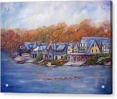 Boathouse Row In Philadelphia Acrylic Print by Loretta Luglio