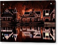 Boathouse Row Reflection Acrylic Print by Deborah  Crew-Johnson