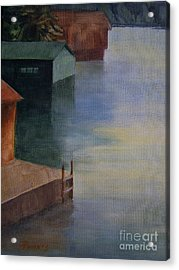Acrylic Print featuring the painting Boathouses by Mary Lynne Powers