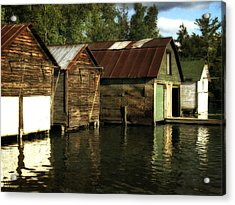 Boathouses On The River Acrylic Print by Michelle Calkins