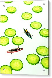 Boating Among Cucumber Slices Miniature Art Acrylic Print by Paul Ge
