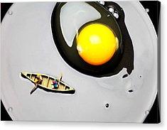 Boating Around Egg Little People On Food Acrylic Print