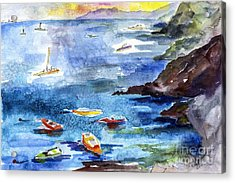 Boating In Italy Watercolor  Acrylic Print