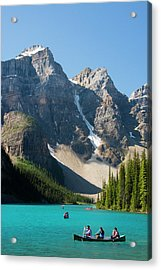 Boating, Moraine Lake, Reflection Acrylic Print by Michel Hersen