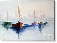 Boats Against The Skyline Acrylic Print by Sandy Linden