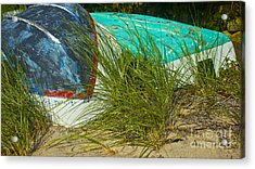 Boats And Beachgrass Acrylic Print by Amazing Jules