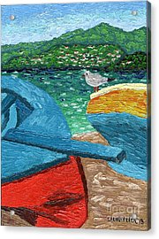 Acrylic Print featuring the painting Boats And Bird At Rest by Laura Forde