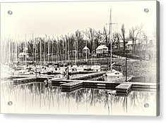 Boats And Cottages In B/w Acrylic Print by Greg Jackson
