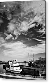 Boats And Sky Bw Acrylic Print