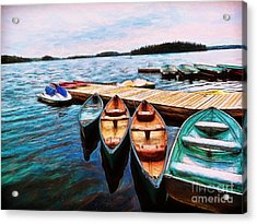 Boats Are Waiting Acrylic Print by Claire Bull