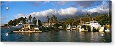 Boats At A Harbor, Lahaina Harbor Acrylic Print