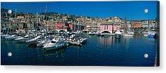 Boats At A Harbor, Porto Antico, Genoa Acrylic Print by Panoramic Images