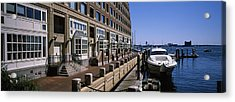 Boats At A Harbor, Rowes Wharf, Boston Acrylic Print by Panoramic Images