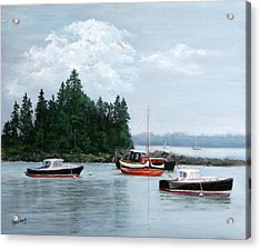 Acrylic Print featuring the painting Boats At Bar Harbor by Sandra Nardone
