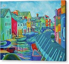 Boats At Burano Acrylic Print