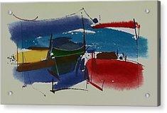 Boats At Dock Acrylic Print by Richard Hinger