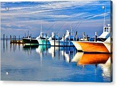Boats At Oregon Inlet Outer Banks II Acrylic Print by Dan Carmichael