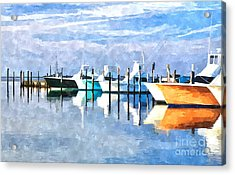 Boats At Oregon Inlet Outer Banks IIi Acrylic Print by Dan Carmichael