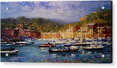Boats At Portofino Italy  Acrylic Print by R W Goetting