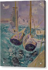 Boats At Sea Acrylic Print