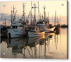 Boats At Steveston Harbour  Acrylic Print by Shirley Sirois